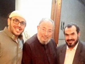 Mohamed Soltan (L) with Youssef Qaradawi (C) and Father (R)