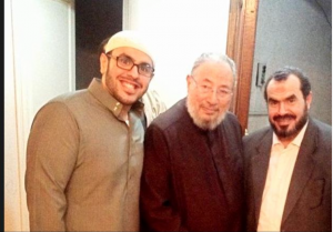 Sarah Soltan (L) with Qaradawi and Father
